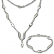 SilberDream Schmuck Set Wave Collier & Armband 925 Silber SDS410