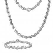 SilberDream Schmuck Set Zick-Zack Collier & Armband Damen 925 Silber SDS440J