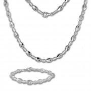SilberDream Schmuck Set Oval Zirkonia Collier & Armband Damen 925 Silber SDS444W