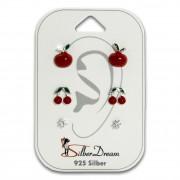 SilberDream Ohrstecker 3er Set Apfel, Kirschen, Zirkonia 925er Ohrringe SDS611RW