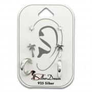 SilberDream Ohrstecker 3er Set Zirkonia, Palme, Creole 925 Ohrring SDS624WJ