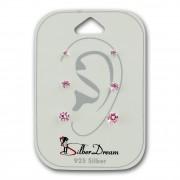 SilberDream Ohrstecker 3er Set Zirkonia rosa 925 Silber Ohrring SDS810P