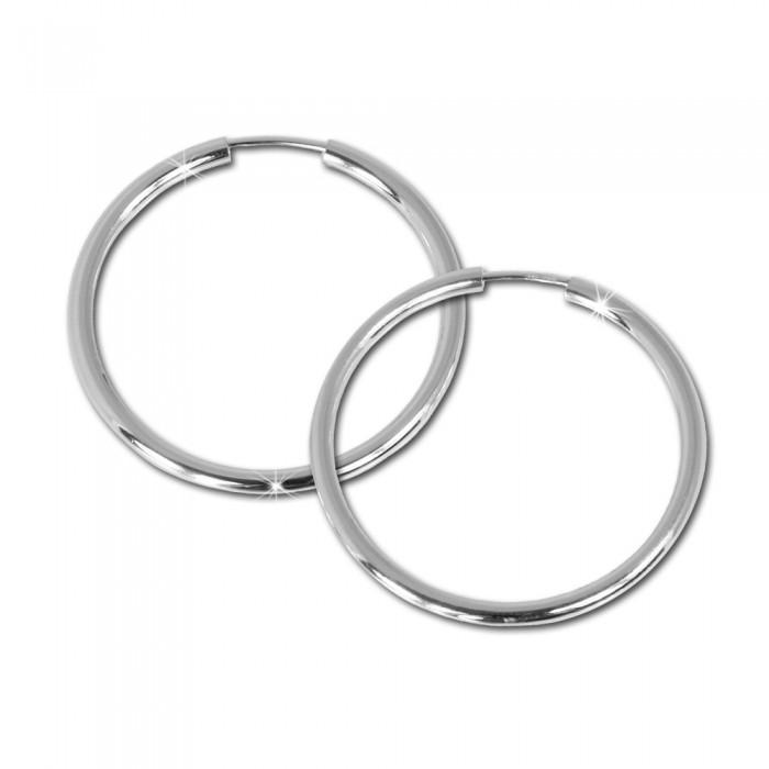 SilberDream Creolen 14mm Ohrringe 925 Silber Schmuck Dots Damen SDO4277J
