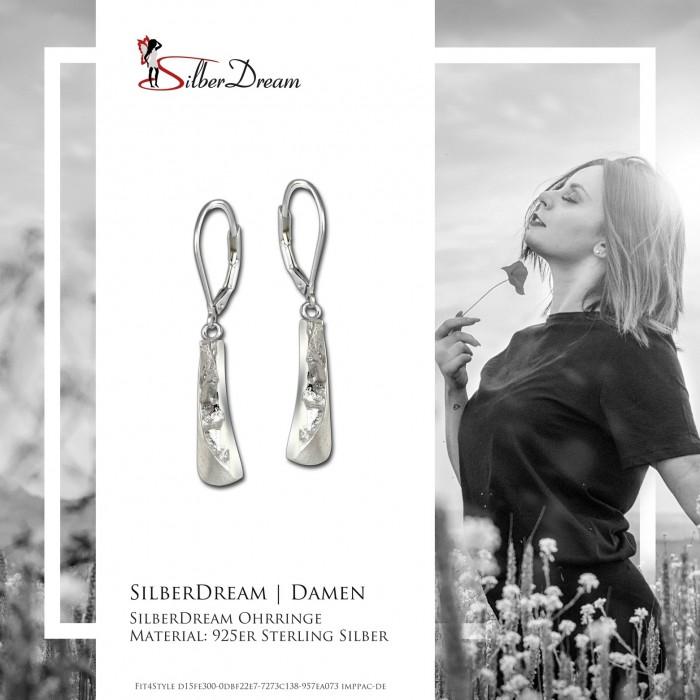 SilberDream Ohrringe 925er Silber 3D-Rechteck Damen Ohrhänger Schmuck SDO4342J