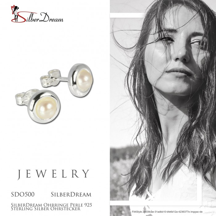 SilberDream Ohrstecker 4,5mm weiß Ohrringe Sterlingsilber Perle Damen SDO105W