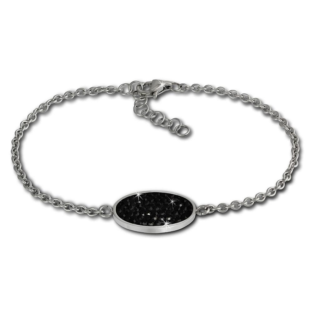 amello edelstahl armband oval 18cm schwarz damen. Black Bedroom Furniture Sets. Home Design Ideas