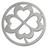 Amello Edelstahl Coin Kleeblatt silber für Coinsfassung Stahlschmuck ESC507J