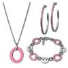 Amello Edelstahlschmuckset Emaille rosa Armband, Ohrringe, Kette ESSG02P