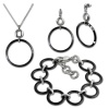 Amello Edelstahlschmuckset Circle Keramik Kette, Armband, Ohrring ESSX14S