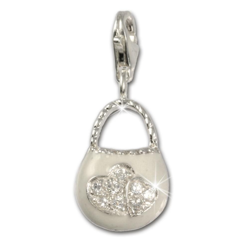 SilberDream Glitzer Charm Seepferd rosa Zirkonia Kristalle 925 GSC519A