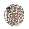 SilberDream Glitzer Bead Swarovski Elements grau Flower 925 GSB302