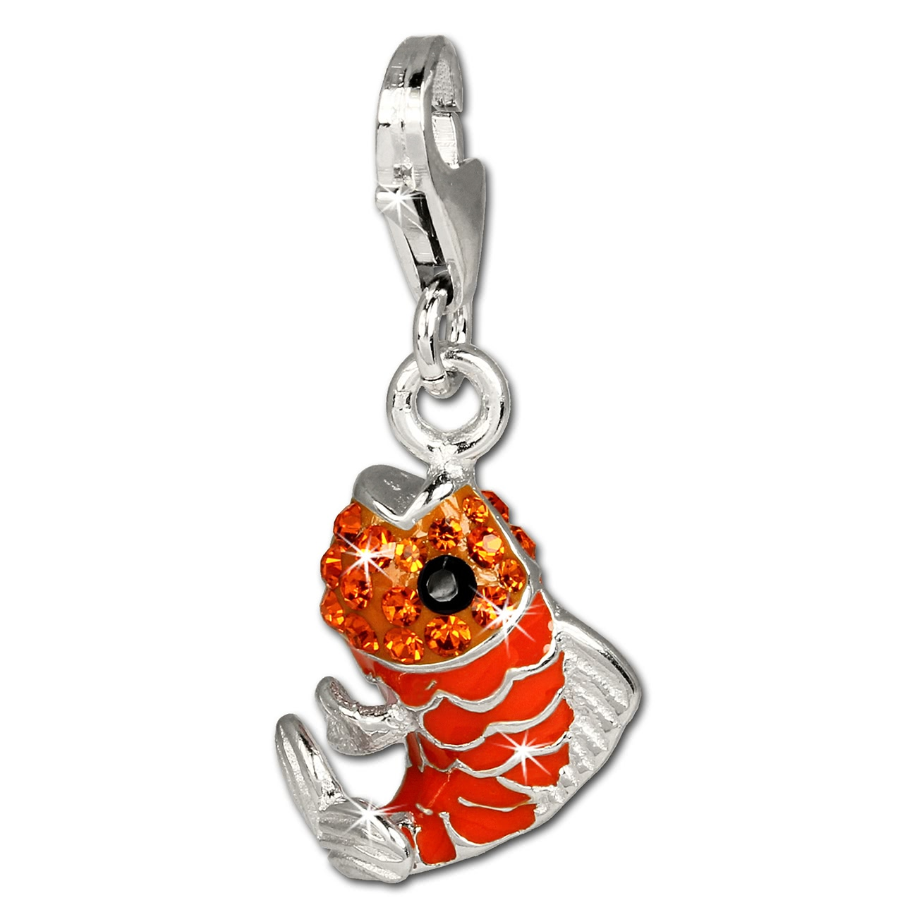 Sd silberdream paillettes breloque poisson orange zircone for Paillette poisson