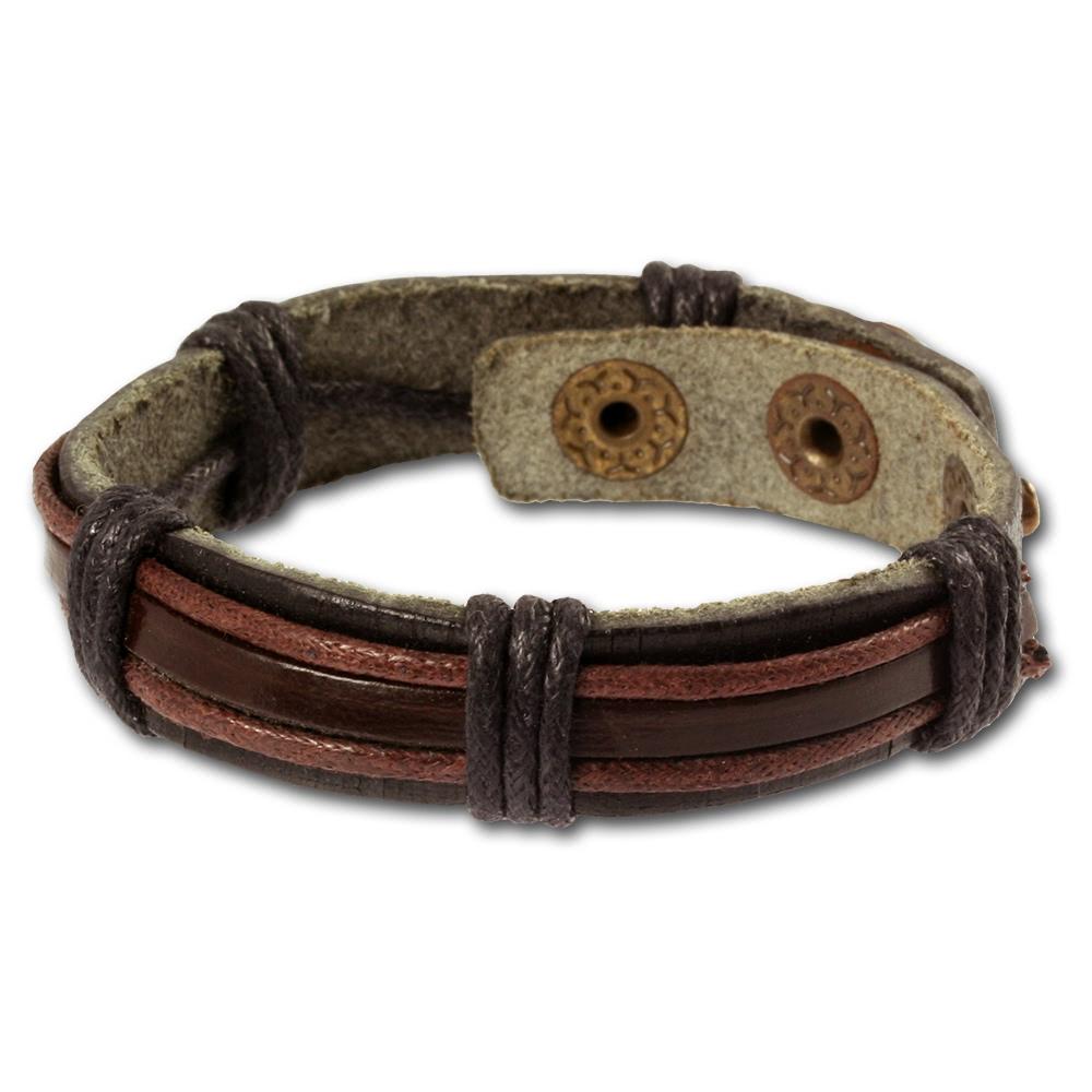 silberdream lederarmband schwarz herren leder armband la0014 ebay. Black Bedroom Furniture Sets. Home Design Ideas
