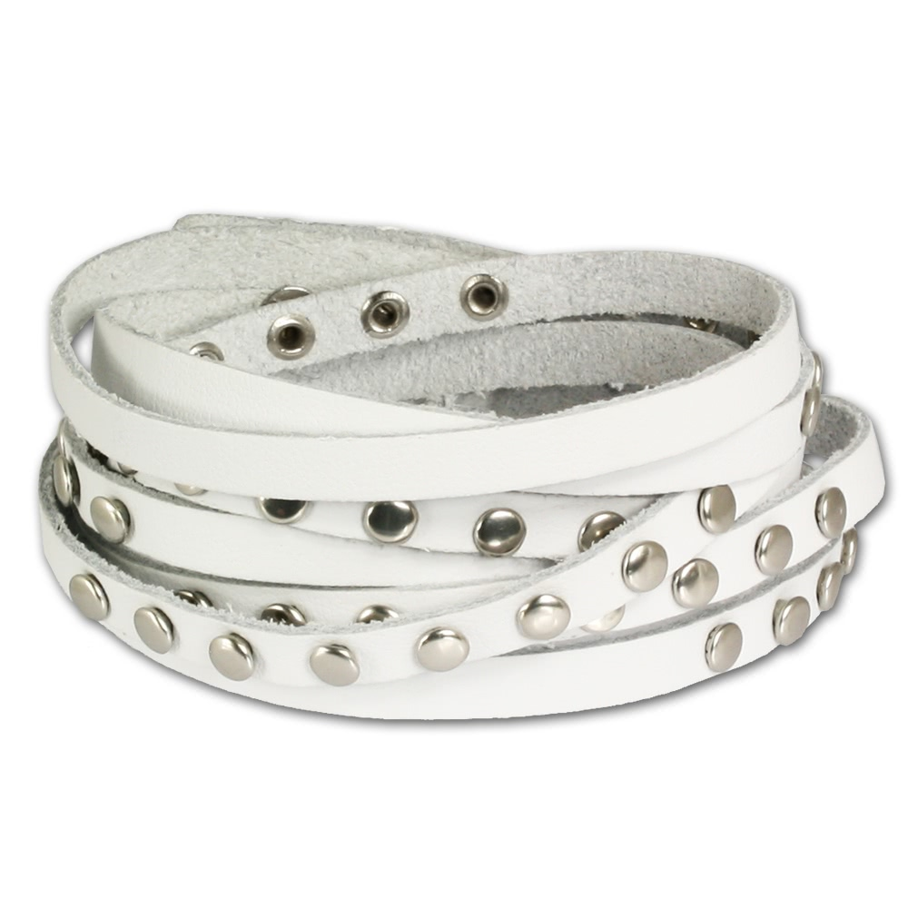 Silver Dream<br> Leather Bracelet<br>Ladies white leather