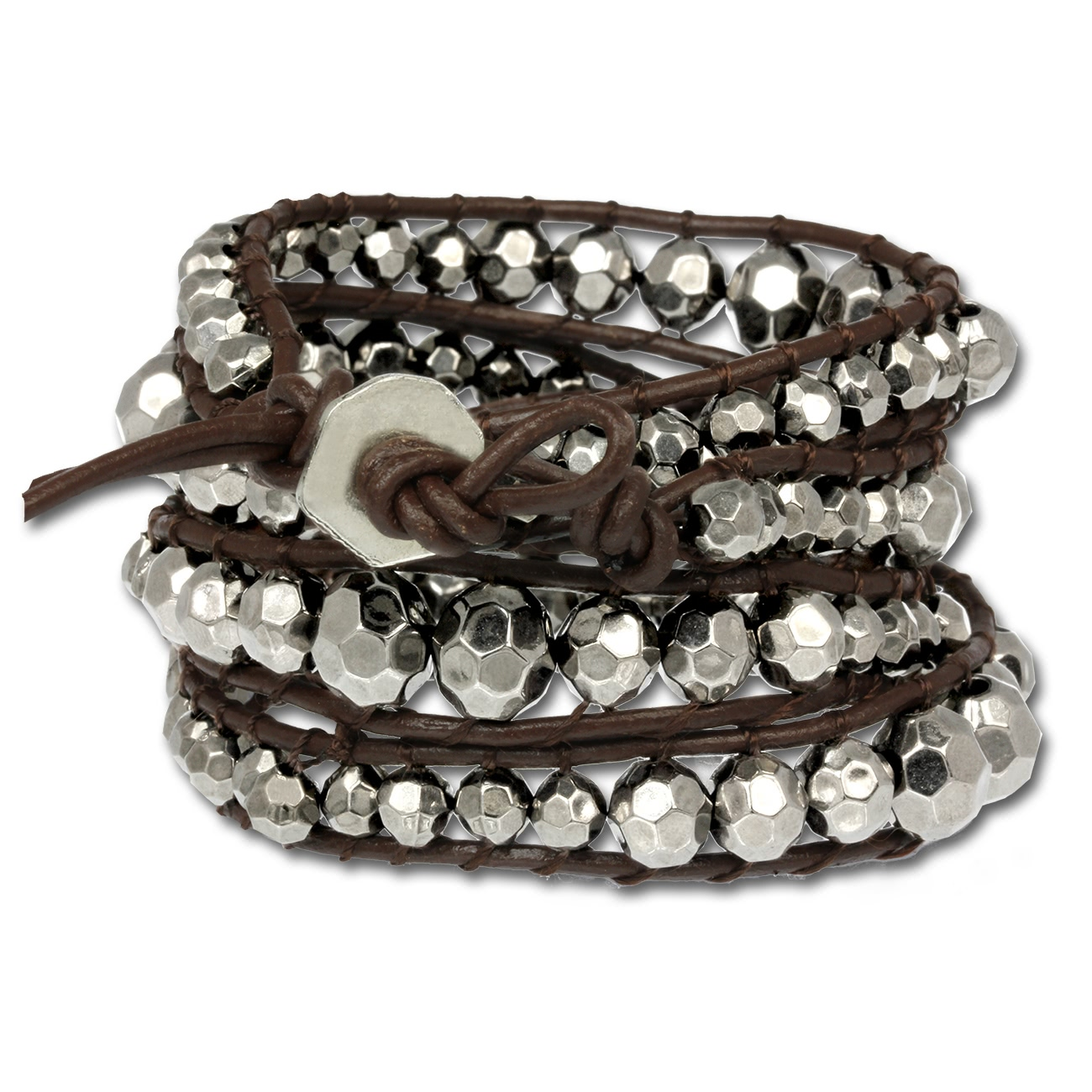 Silver Dream<br> leather bracelet<br>metal pearl silver w