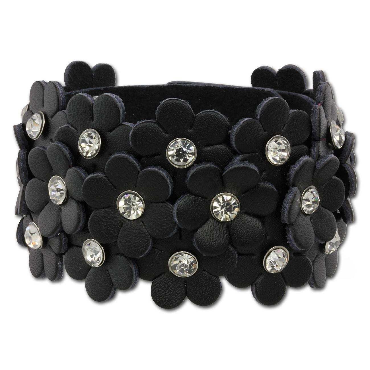 Lederarmband breit damen  SilberDream Lederarmband schwarz Glitzer Blumen Damen Armband ...