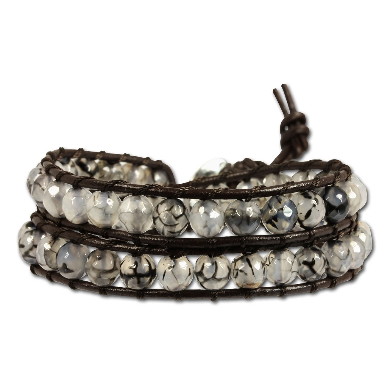 Silver Dream<br> leather bracelet<br>agate grain ladies L
