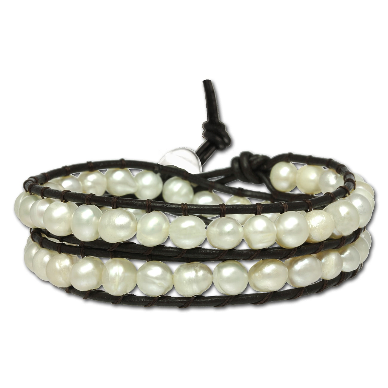 Silver Dream Pearl<br> Leather Bracelet<br>Pearl Bracelet