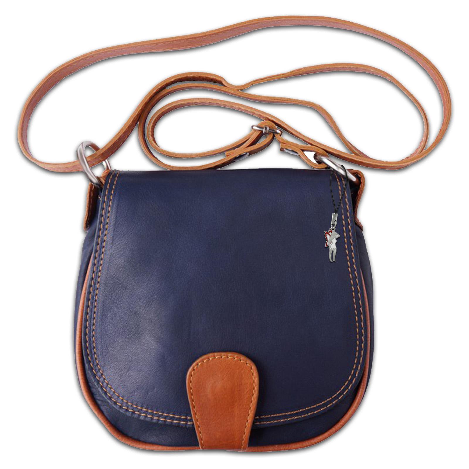 umh ngetasche damen handtasche satteltasche leder blau. Black Bedroom Furniture Sets. Home Design Ideas