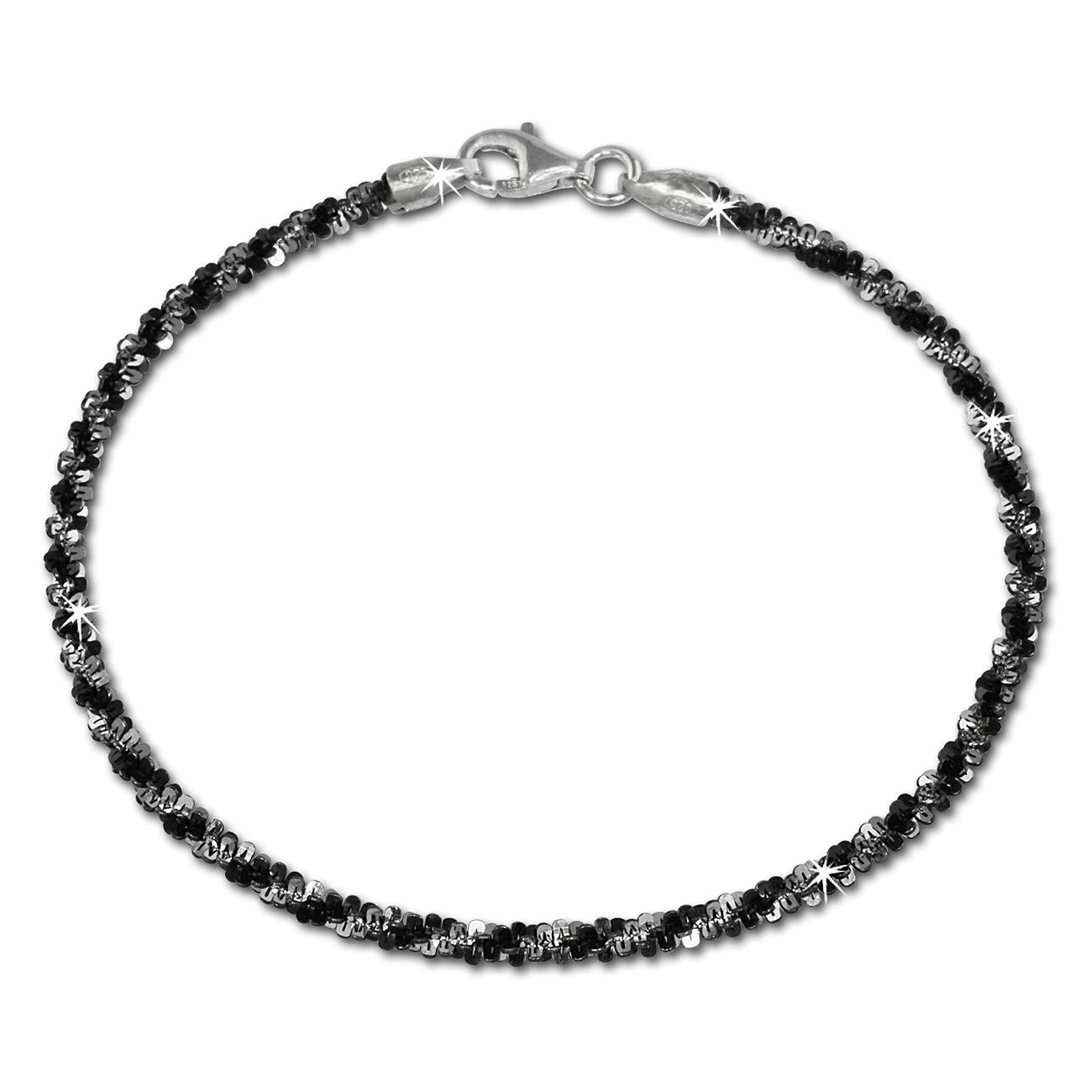 silberdream armband gedreht schwarz 20cm 925 silber damen. Black Bedroom Furniture Sets. Home Design Ideas