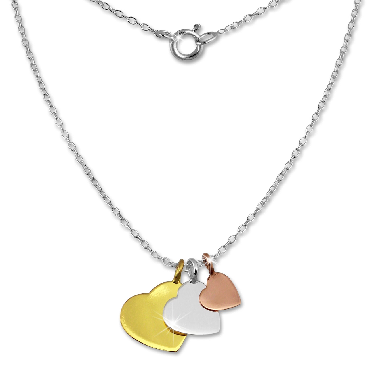 Silver Dream chain<br> 3 hearts gold<br>plated 925 silver